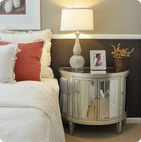 Gorgeous! I need the lamp and the red shams/pillows...oh, just throw in the mirrored nightstand, too!: