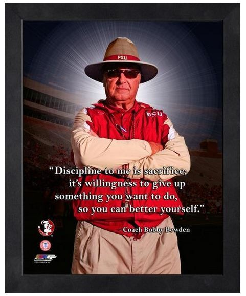 "Bobby Bowden Retired Florida State Coach - 11"" x 1 4"" Framed ""Pro Quotes"""