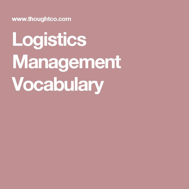 Logistics Management Vocabulary