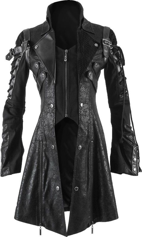 A distinctive jacket by gothic clothing brand Punk Rave, black, rugged and elaborately detailed with straps and strings on the sleeves.