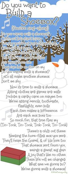 Sing-Along Song 2   MadeCreatively   Movies and music go hand-in-hand, so what better way to express our love for Operation Christmas Child shoeboxes than with a song from the cinema! You know the tune of Frozen's 'Do You Want To Build A Snowman', so sing along as you read through our shoebox-themed lyrics!
