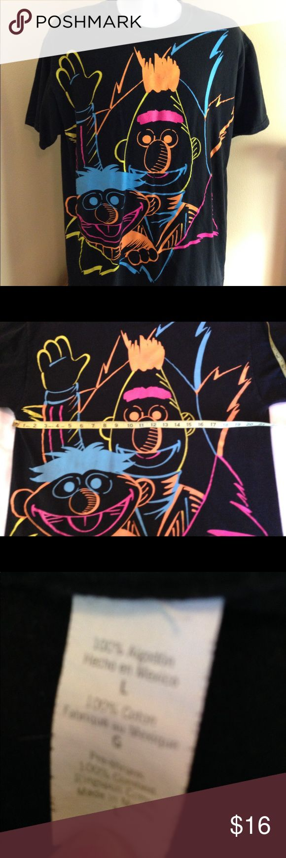 "Sesame Street Neon Bert Ernie Mens Tshirt Sz L Sesame Street Neon Bert Ernie Mens Tshirt Sz L in great preowned condition. Armpit to armpit 21"", cool retro shirt! Sesame Street Shirts Tees - Short Sleeve"