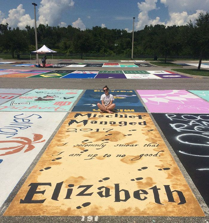 High School Seniors Paint Their Parking Spots And Their Art Goes Viral On Twitter