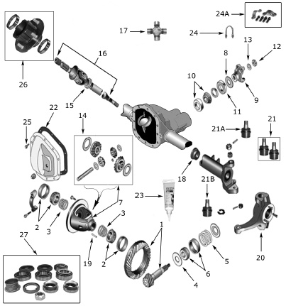 Dodge Differentials additionally Motive Gear Ring And Pinion Package Tj3044488m in addition Dana 30 front axle ring and pinion sets moreover Jeep Front Axle Parts further Ford 4x4 Locking Hub Parts Diagram. on dana 30 ring and pinion sets