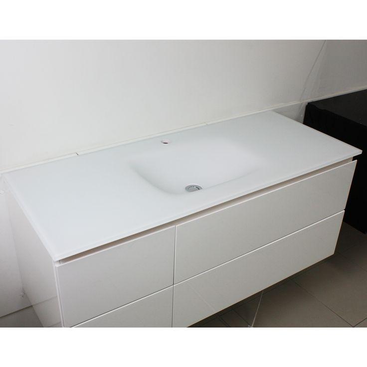 Aurora Matte White Glass Vanity Top 1200mm