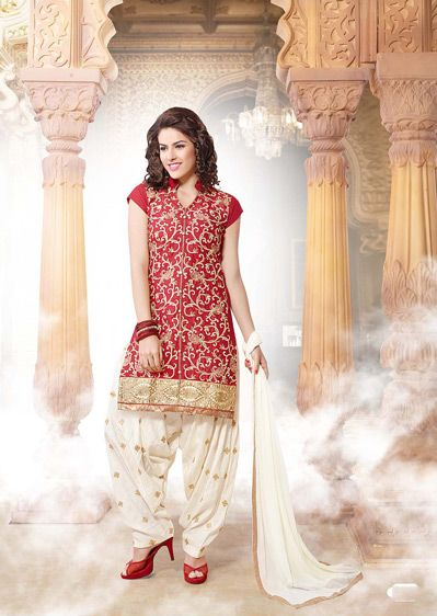USD 32.09 Red Embroidered Cotton Party Wear Punjabi Salwar Suit 32223