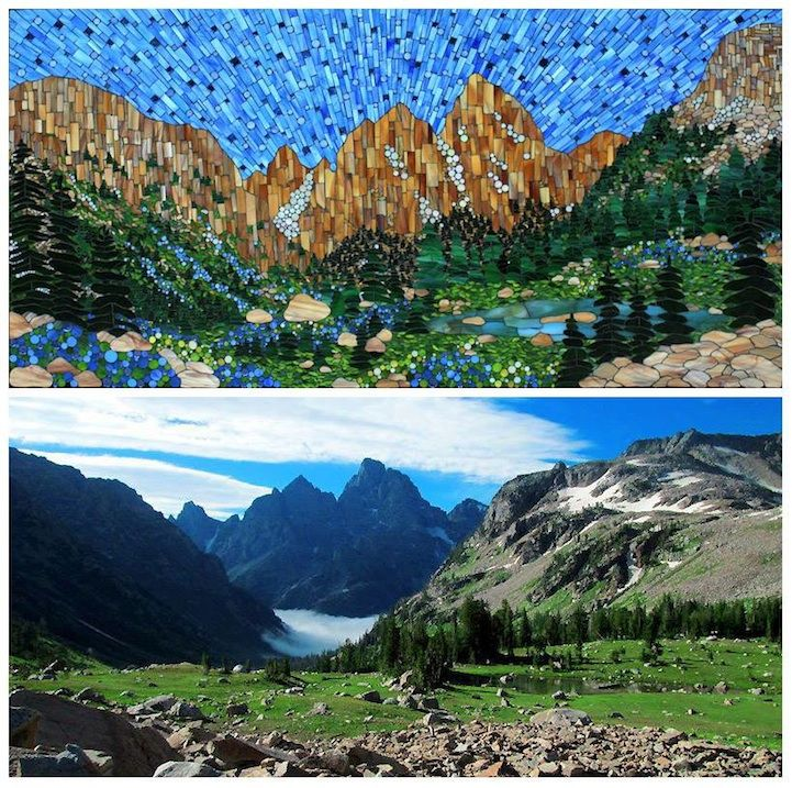 Warsaw, Poland-born, Boulder, Colorado-based artist Kasia Polkowska recently embarked on a new stained glass mosaic series featuring America's most gorgeous landscapes.