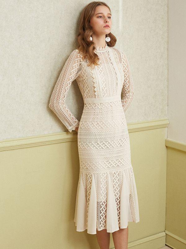 Apricot Sheer Lace Overlay Fishtail Midi Dress | Metisu