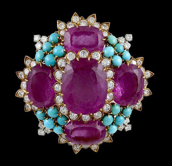 DAVID WEBB BANGELES AND BRACELETS | DAVID WEBB Diamond, Rubelite,Turquoise Pin