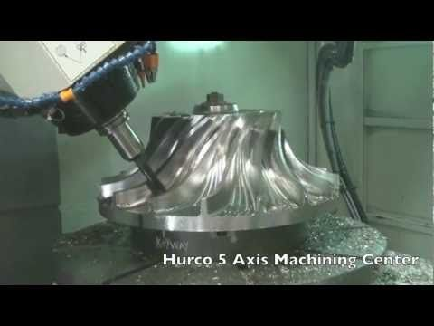 Hurco 5 axis machining center milling out an impeller.  #cnc #machining