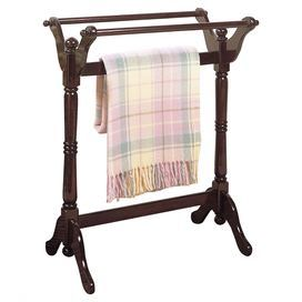"""Quilt rack with 3 draping bars and a turned post design.   Product: Quilt rackConstruction Material: WoodColor: CherryFeatures: Turned postDimensions: 32.5"""" H x 25"""" W x 16.5"""" D"""