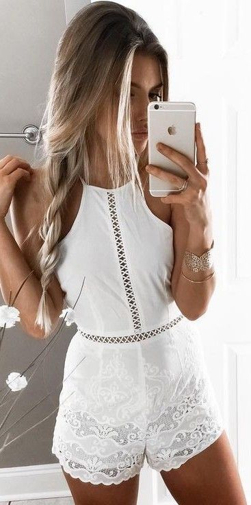 #summer #young #outfits |  White Lace Romper