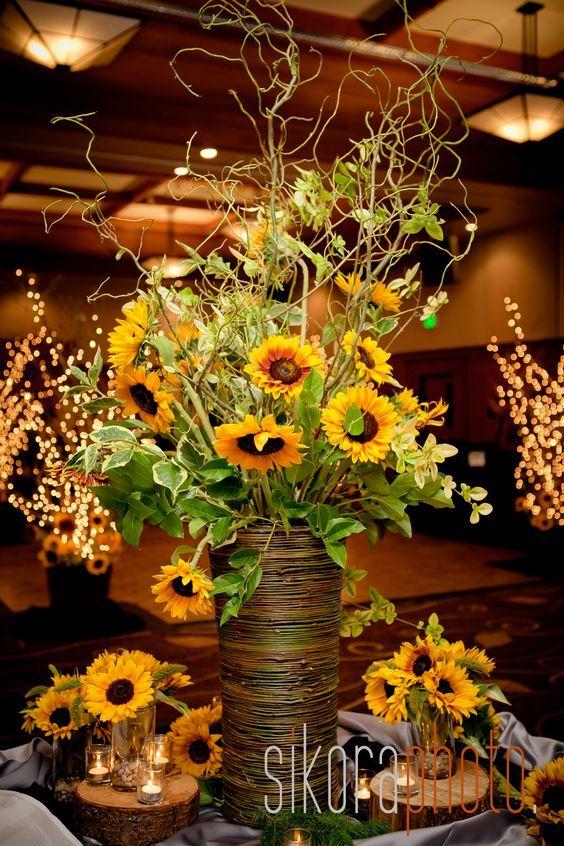 sunflower reception wedding flowers centerpiece / http://www.himisspuff.com/country-sunflower-wedding-ideas/9/