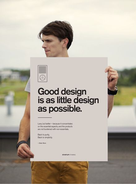 """""""Good design is as little design as possible."""" Dieter Rams Product Design #productdesign"""