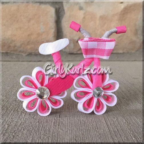 Pink Bicycle Hair Clip Hair Bow Ribbon Sculpture por GirlyKurlz