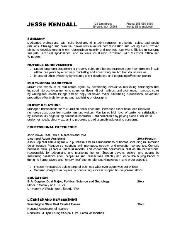 sample resume objectives for marketing job