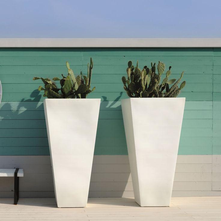 fotos de macetas modernas | Maceta Y-Pot SLIDE Design blanco