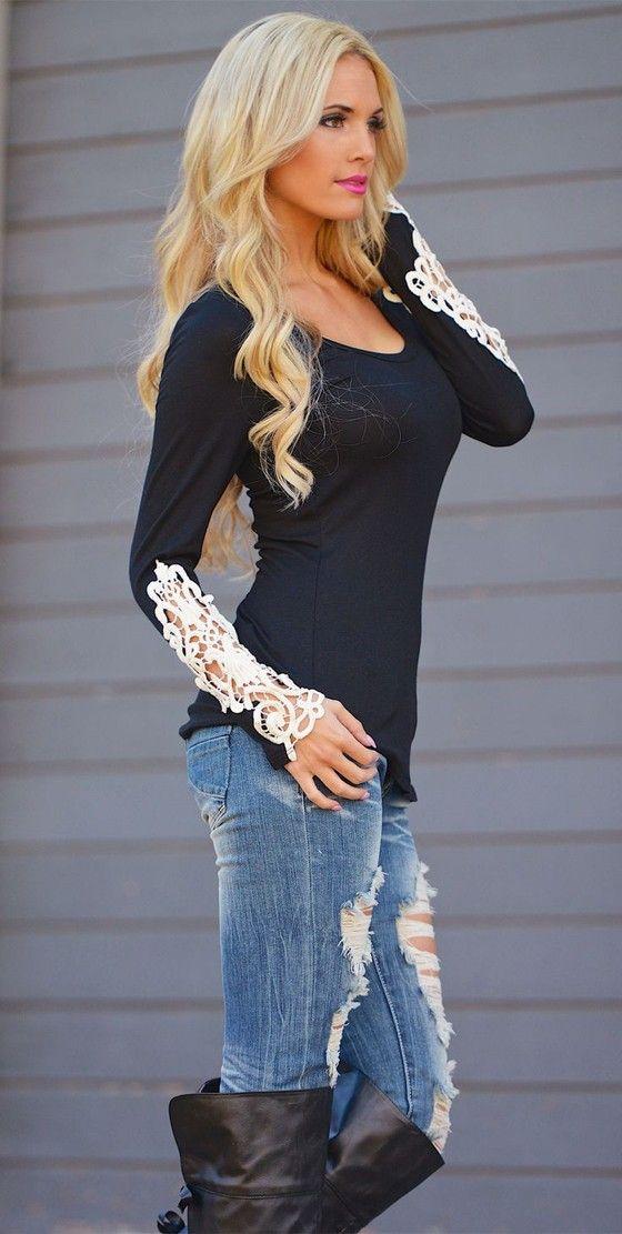 Black Patchwork Irregular Lace Fashion T-Shirt