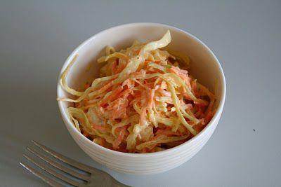 Coleslaw er umulig å oversette – cole er kål, men slaw….. det er navnet på denne typen salat. Den er amerikansk og er en klassisk salat som serveres med grillet eller fritert kylling, eller hamburger (noen bruker den til og med på hamburgeren). Den består av finstrimlet kål og raspet gulrøtter, blandet med en dressing [...]Read More...