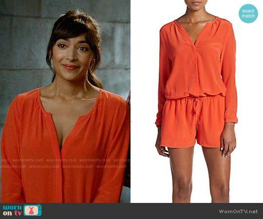 Cece's red split-neck romper on New Girl.  Outfit Details: https://wornontv.net/55658/ #NewGirl