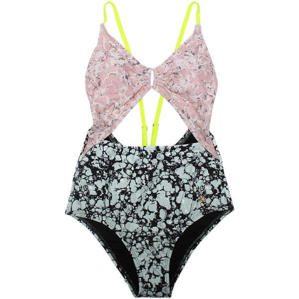 Cut Out Swimsuit Kurt Geiger London Multi-Coloured ($85) ❤ liked on Polyvore featuring swimwear, one-piece swimsuits, kurt geiger, cut out one piece swimsuits, colorful bathing suits, strappy swimwear and cut-out swimsuit