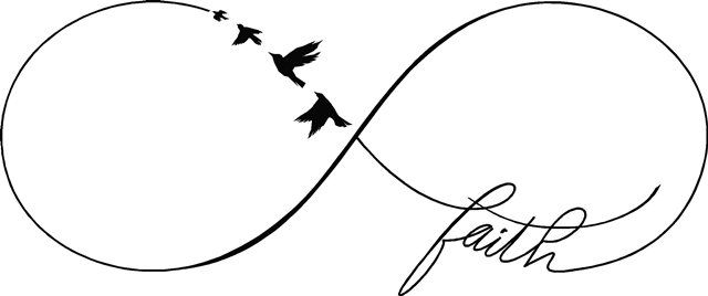 """""""Faith"""" Infinity symbol sign flying birds religious wall decal stickers sign home decor"""
