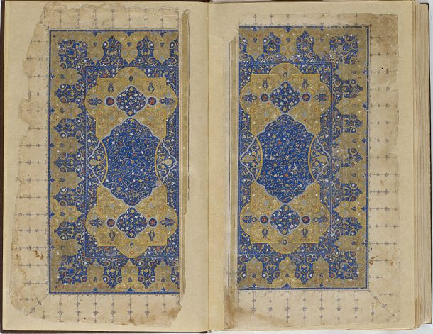 Folio from a Khamsa (Quintet) by Nizami (d.1209); frontispiece  TYPE Manuscript folio MAKER(S) Calligrapher: Murshid al-Shirazi HISTORICAL PERIOD(S) Safavid period, 1548 (955 A.H.) MEDIUM Ink, opaque watercolor and gold on paper DIMENSION(S) H x W: 30.9 x 18.3 cm (12 3/16 x 7 3/16 in) GEOGRAPHY Iran, Shiraz