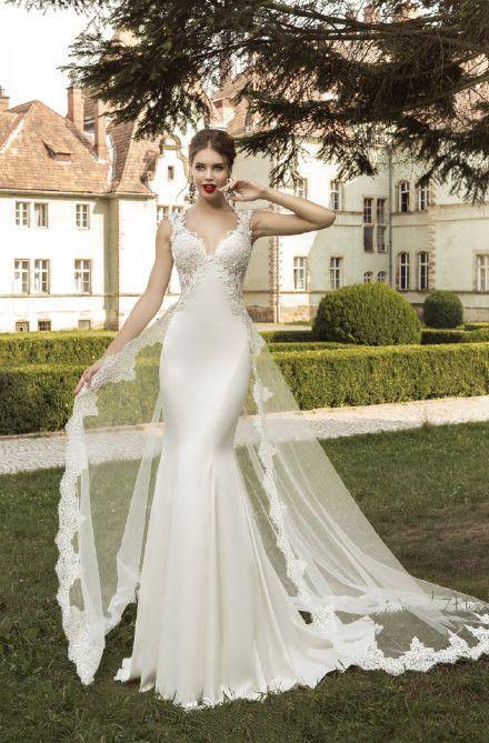 Satin Mermaid Wedding Dresses With Detachable Train Bridal Gown Open Back Wedding Gown V-neck Bride Dress Custom Size Color