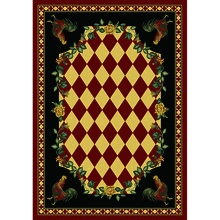 "We just got this in! The red version of ""High Country Rooster"" rustic rug.  Made in America. http://www.rusticfurnituredecor.com/country-rugs-red-rooster-ad.html"