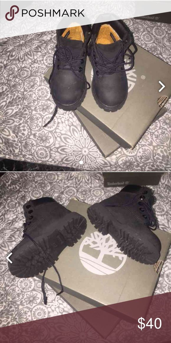 Black timberlands for toddler 7c A little bit of marks can't see because they're blank Timberland Shoes Boots