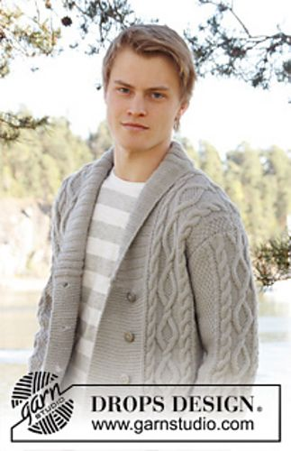 """Ravelry: 0-850 Men's jacket with cable pattern and shawl collar in """"Lima"""" pattern by DROPS design -  free pattern"""