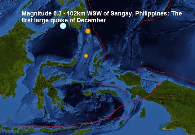 The Big Wobble Almanac : Magnitude 6.3 - 102km WSW of Sangay, Philippines: ...  Today's earthquake is this years 146th quake measuring magnitude 6 or more and the 1st of December. Last month a total of Magnitude 6 or larger earthquakes were registered. The biggest quake this year was a magnitude 8.2- 94km NW of Iquique, Chile on the second of April earlier in the year.