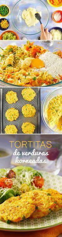 Prepara estas tortitas de papa saludables bajas en grasa con zanahoria, guisantes, elote y otras verduras. Una receta casera y fácil que les encantará a los niños.