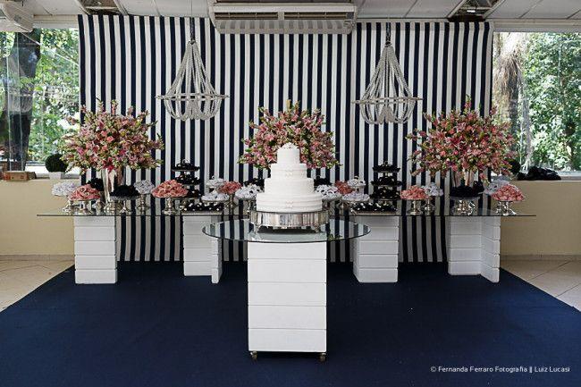 Casamento azul marinho e rosa