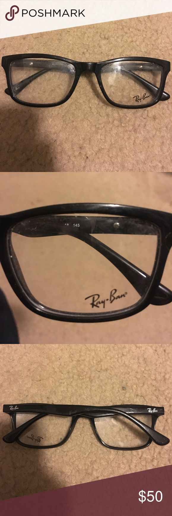 Ray Ban Black Frames They still have the factory plastic lenses in. These can be exchanged for prescription lenses or worn as accessory eyeglasses. Authentic Ray Bans purchased from their website Ray-Ban Accessories Glasses