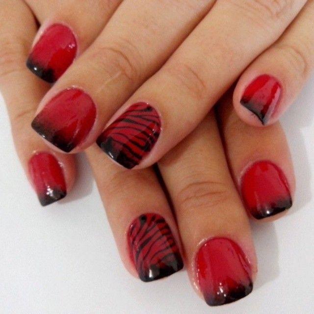 Red & black ombre zebra stripe nails #nail #nails #nailart