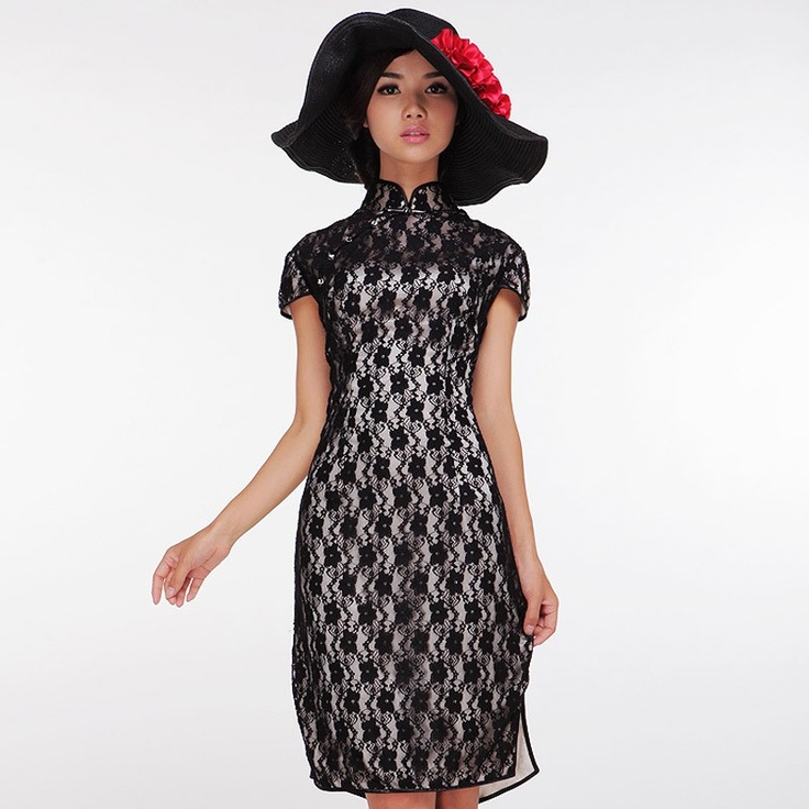 The black fashion bud silk short cheongsam dress. My Tender Heart