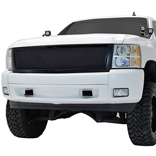 E-Autogrilles 07-13 Chey Silverado 1500 Black Stainless Steel Wire Mesh Grille with Black Shell (44-0802). For product info go to:  https://www.caraccessoriesonlinemarket.com/e-autogrilles-07-13-chey-silverado-1500-black-stainless-steel-wire-mesh-grille-with-black-shell-44-0802/