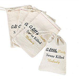 """Amazon.com: Ling's moment 10pcs 4""""x6"""" Cotton Favor Bags - Bachelorette Hangover Kit, Survival Kit, Recovery Kit, Emergency Kit Favor Bags, Bachelorette Party Favor Bags - A Little Party: Toys & Games"""
