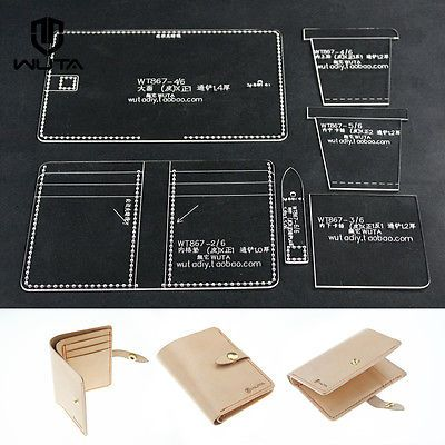 Clear Acrylic Plexiglass Leathercraft paper pattern wallet card case template