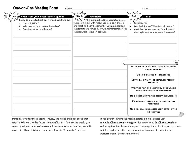 One-on-one meeting agenda template