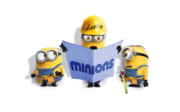 Download wallpapers Minions, Kevin, Bob, construction workers