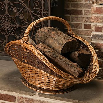 Hand Woven Wicker Log Basket