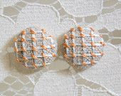 Edith & Kaye: Hand-Embroidered Fabric Covered Button Earrings