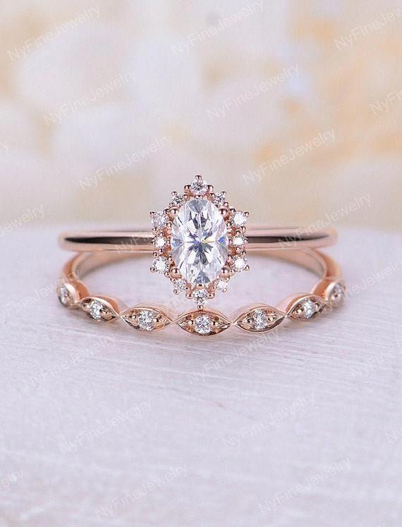 14K White Gold Moissanite Engagement Ring Wedding Band