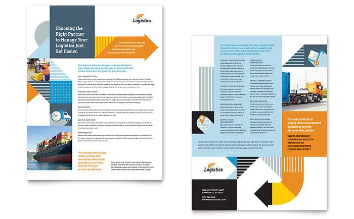 Logistics and Warehousing Datasheet Template Design by StockLayouts