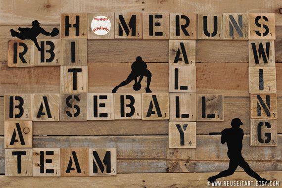Print or Canvas: Baseball Player Pallet Art Word Collage Sports Room Wall Decor Choose Lustre Fine Art Print or Gallery Wrapped Canvas