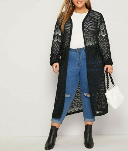 Black Open Front Chevron Eyelet Longline Cardigan Sweater Duster Coat Plus Size ... 1