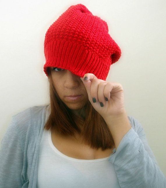 Slouchy red hand knitted hat women accessories beanie by Kikoa, $35.00