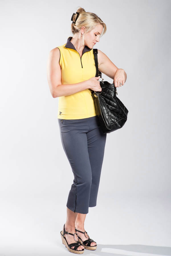 Sleeveless Zip Top--Shows you how Vivacity can be the perfect transition from sportswear to day to day wear.